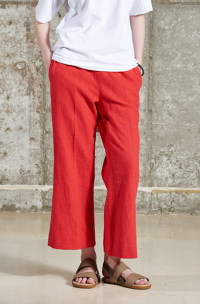 LINEN COLOR PANTSPT62005 RED