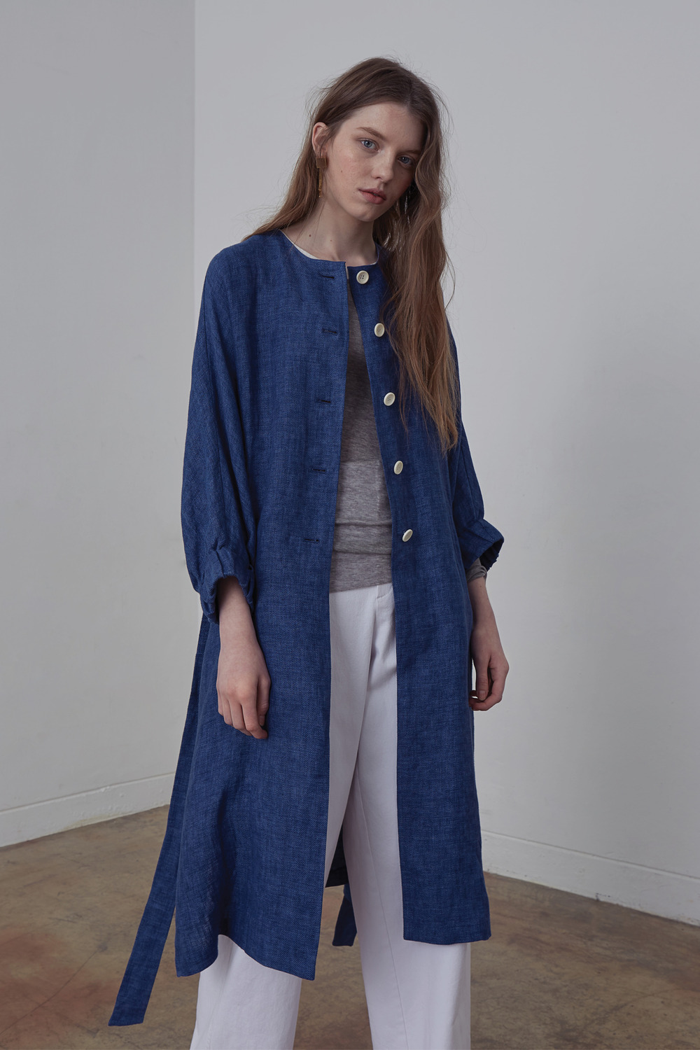 SHIRRING SLEEVE COATCT71002 INDIGO