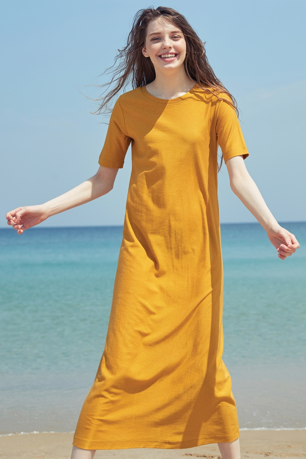 COTTON-SILK FITTED DRDR72005 MUSTARD