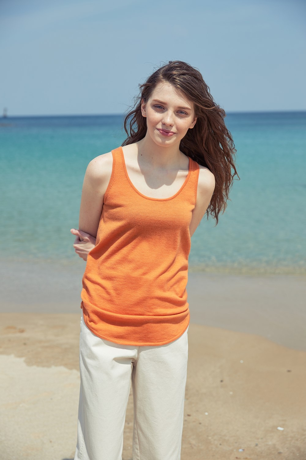 SLEEVELESS KNIT TKT72006 ORANGE