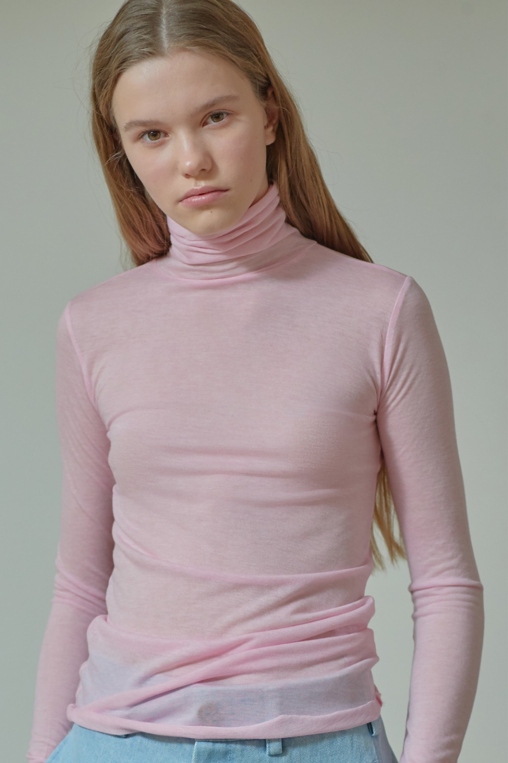 SLIMFIT TURTLE NECK TTS91TW01 SHEER PINK