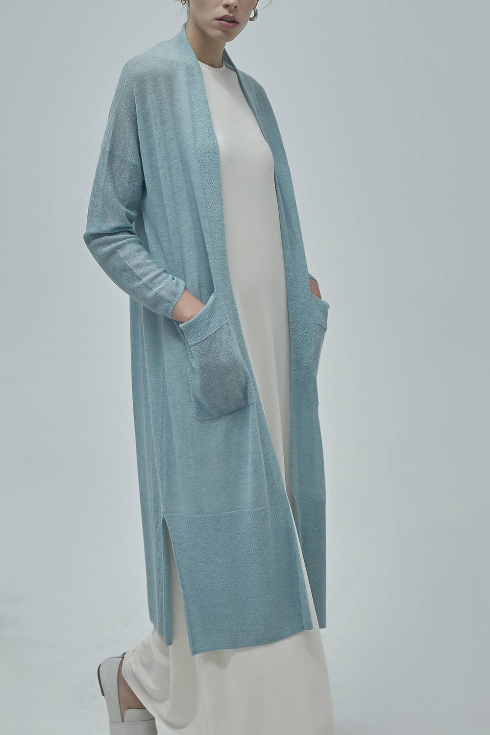 LIGHT ALPACA CARDIGAN CTKT93WN02 POWDER BLUE