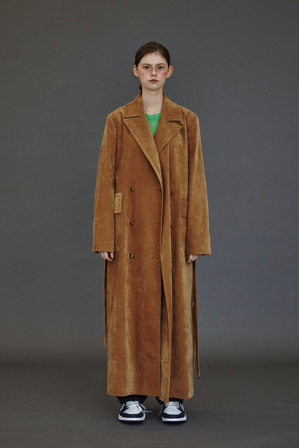 VELOUR MAXI TRENCHCAMEL