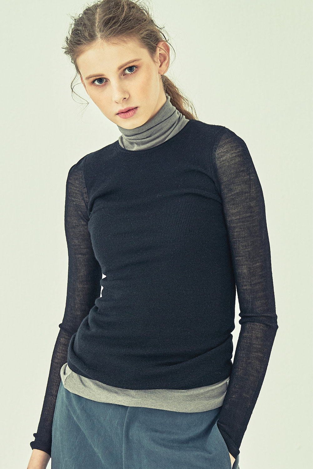 ROUNDED LONG SLEEVE KNIT TKT72007