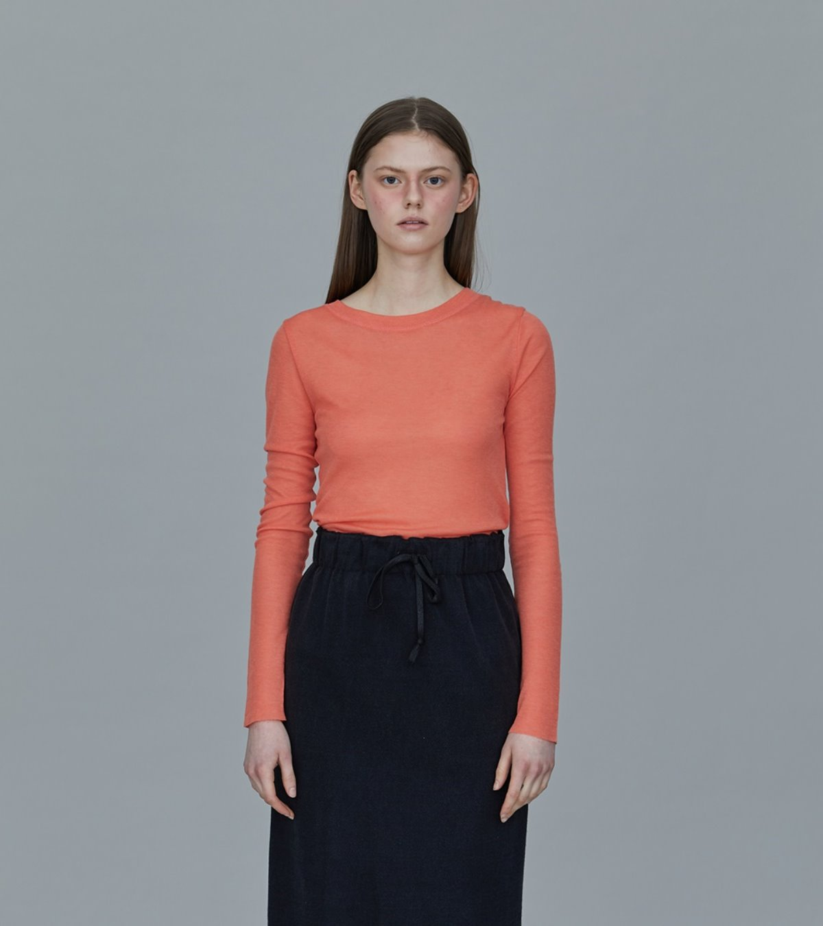TS01TW03BASIC ROUND NECK TCORAL